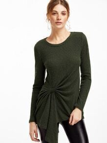 Army Green Long Sleeve Ribbed Twist T-shirt