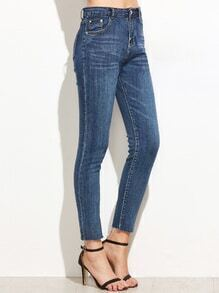 High Waist Denim Fringe Denim Pants