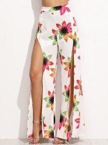 Flower Print Split Pants