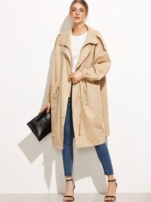 Pale Khaki Zipper Pockets Coat