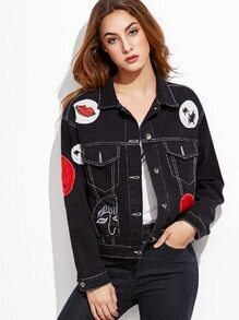 Black Patch Single Breasted Denim Jacket