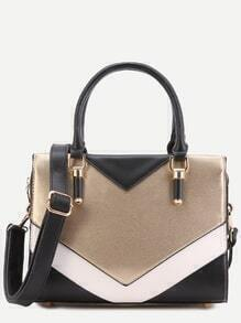 Color Block Faux Leather Handbag With Strap