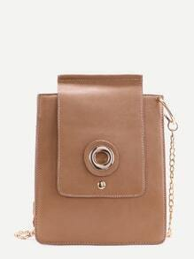Khaki PU Camera Design Flap Chain Bag
