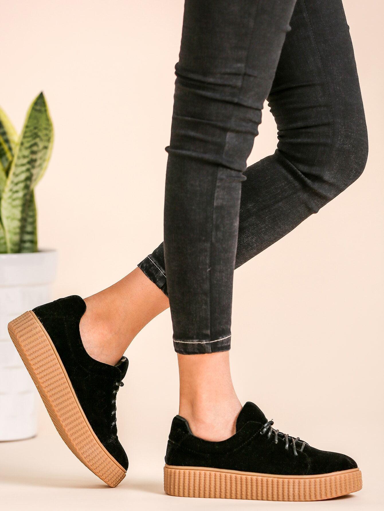 Chaussures plates en su d avez lacet noir french romwe for Acheter maison suede