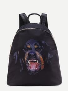 Black Dog Print Zip Closure Nylon Backpack