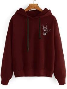 Burgundy Gesture Print Drop Shoulder Hooded Sweatshirt