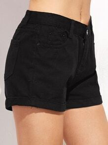 Black Roll Hem Button Denim Shorts