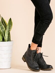 Dark Grey Distressed PU Lace Up Cork Heel Short Boots