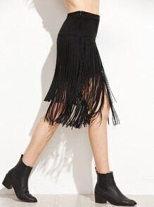 Black Suede Fringe Skirt With Zipper