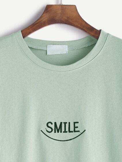 Light Green Elbow Sleeve Letter Embroidery T-shirt
