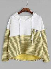 Yellow Contrast Striped High Low Hooded Textured Sweatshirt