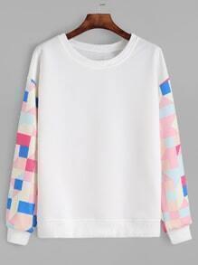 White Geo Print Sleeve Sweatshirt