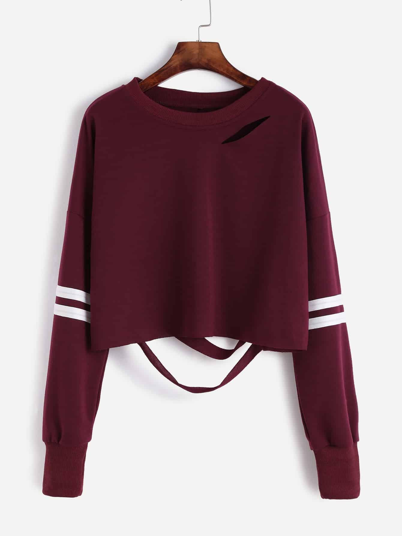 Drop Shoulder Varsity Striped Cutout Crop SweatshirtFor ...