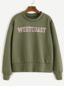 Army Green Letter Print Sweatshirt