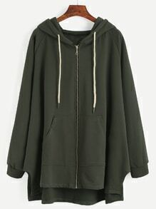 Dark Green Raglan Sleeve Drawstring Hooded Zipper Sweatshirt