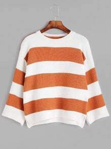 Wide Striped Dropped Shoulder Seam Sweater