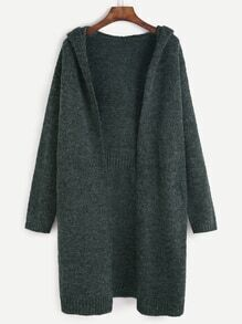 Dark Green Open Front Hooded Sweater Coat