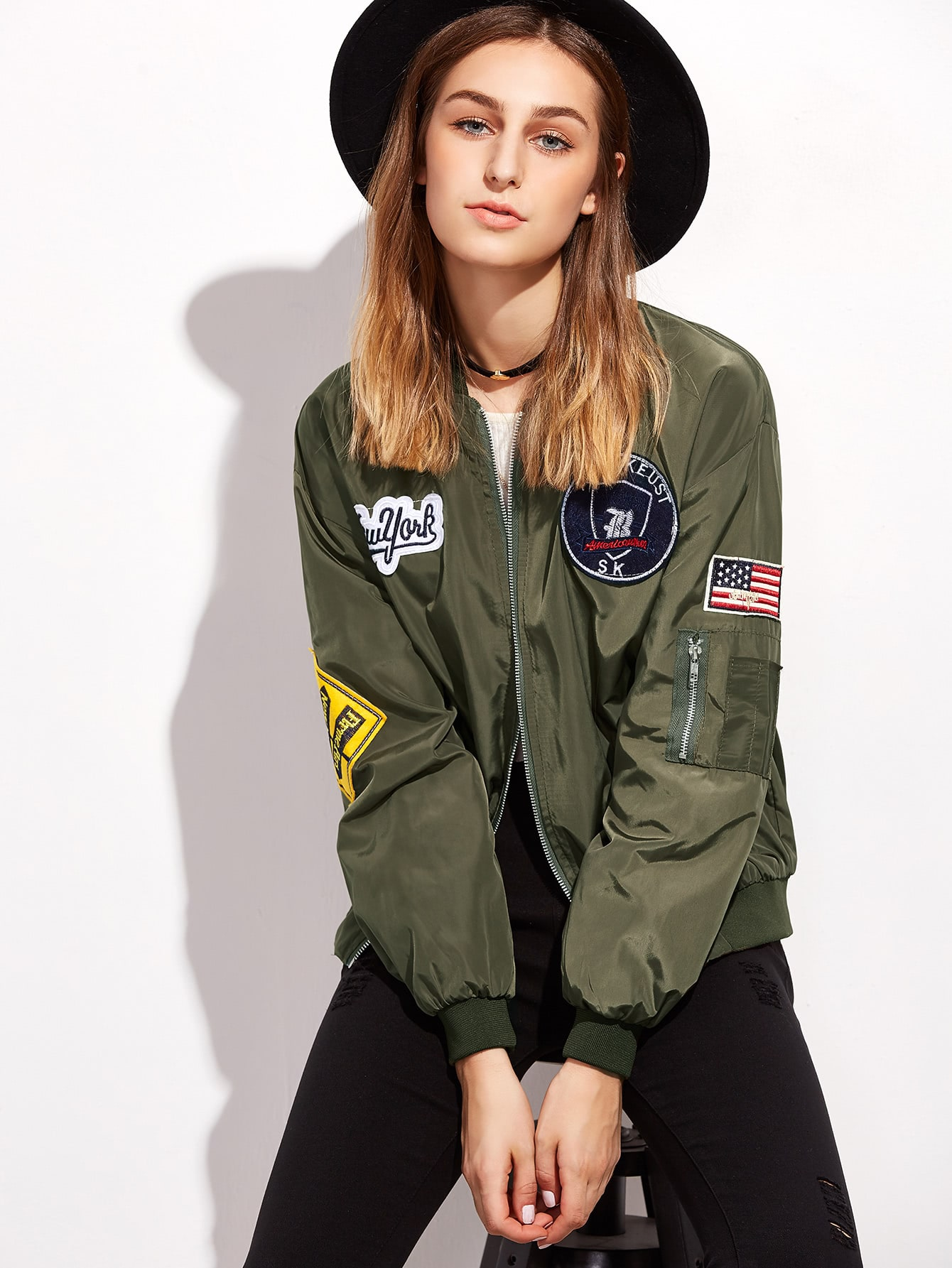 Army Green Embroidered Patches Zip Up Bomber Jacketfor