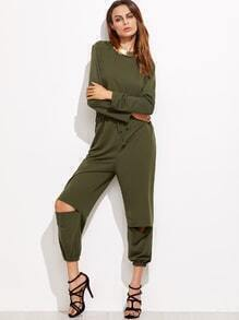 Army Green Ripped Zipper Back Drawstring Jumpsuit