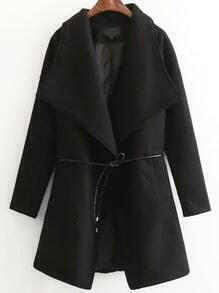 Black Shawl Collar Wool Blend Coat With Self Tie