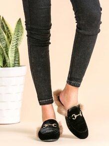 Black Velvet Fur Lined Loafer Slippers