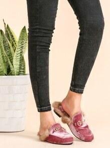 Pink Velvet Fur Lined Loafer Slippers