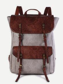 Beige Faux Leather Buckle Strap Flap Pocket Backpack