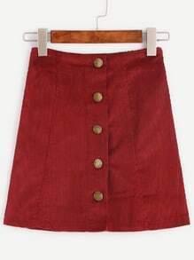 Burgundy Corduroy Single Breasted A Line Skirt
