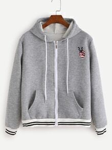 Light Grey Striped Trim Patch Hooded Textured Jacket
