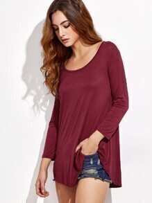 Burgundy Curved Hem Shift T-shirt
