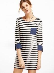 Contrast Trim Striped Tee Dress