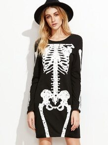 Black Skeleton Print T-shirt Dress