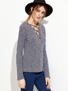 Criss Cross Front Ribbed Knit Sweater