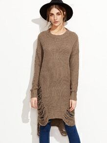 Khaki Drop Shoulder High Low Distressed Long Sweater