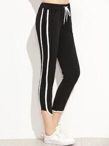Black Striped Side Drawstring Waist Pants