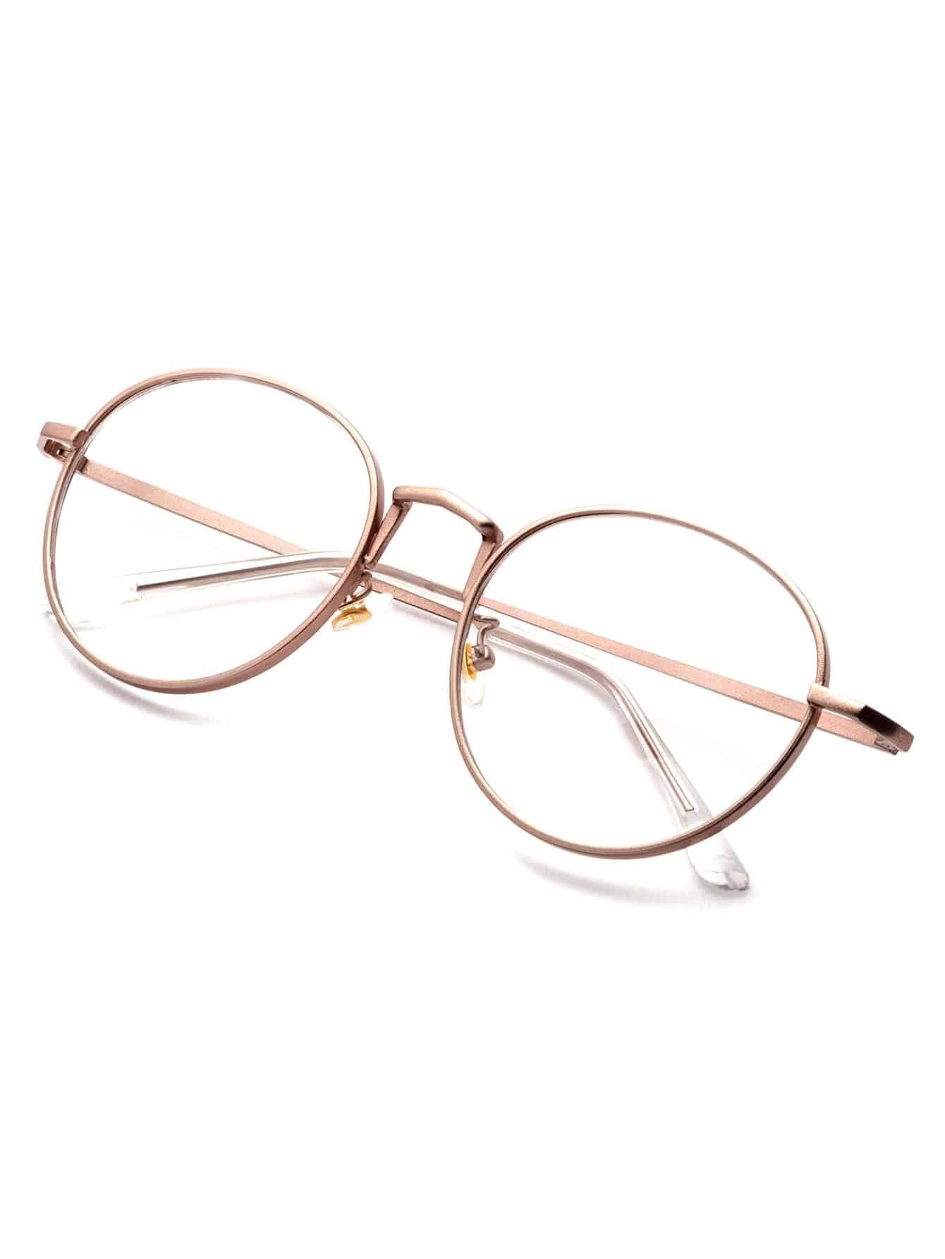 Rose Gold Delicate Frame Clear Lens GlassesFor Women-romwe