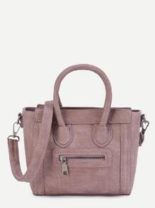 Pink PU Front Zipper Handbag With Strap