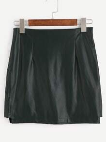 Dark Green Faux Leather Skirt With Zipper