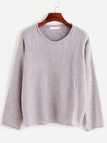 Light Grey Long Sleeve Loose Sweater