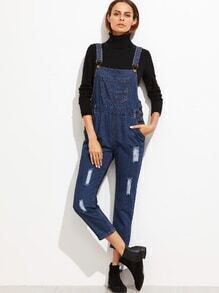 Blue Strap Ripped Pockets Overall Jeans