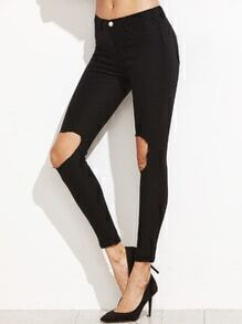 Black Knee Ripped Skinny Stretch Pants