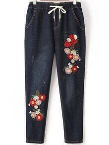 Flower Embroidery Drawstring Waist Jeans