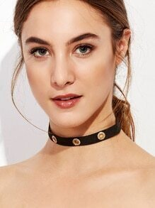 Black Metal Circle Hollow Out Choker Necklace
