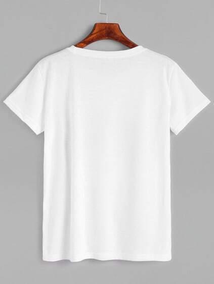 White Skull Print T-shirt