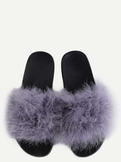 Grey Faux Fur Soft Sole Flat Slippers