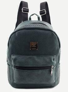 Dark Green PU Logo Patch Front Pocket Studded Backpack