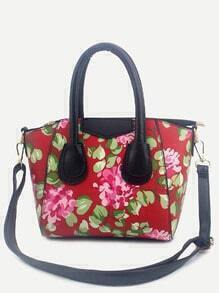 Red Floral Print Handbag With Strap