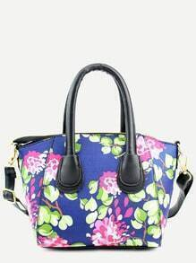 Blue Floral Print Handbag With Strap