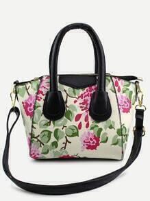 Beige Floral Print Handbag With Strap