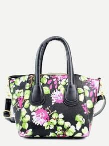 Black Floral Print Handbag With Strap